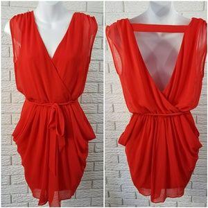 Bebe Sleeveless Draped Dress S Red Chiffon